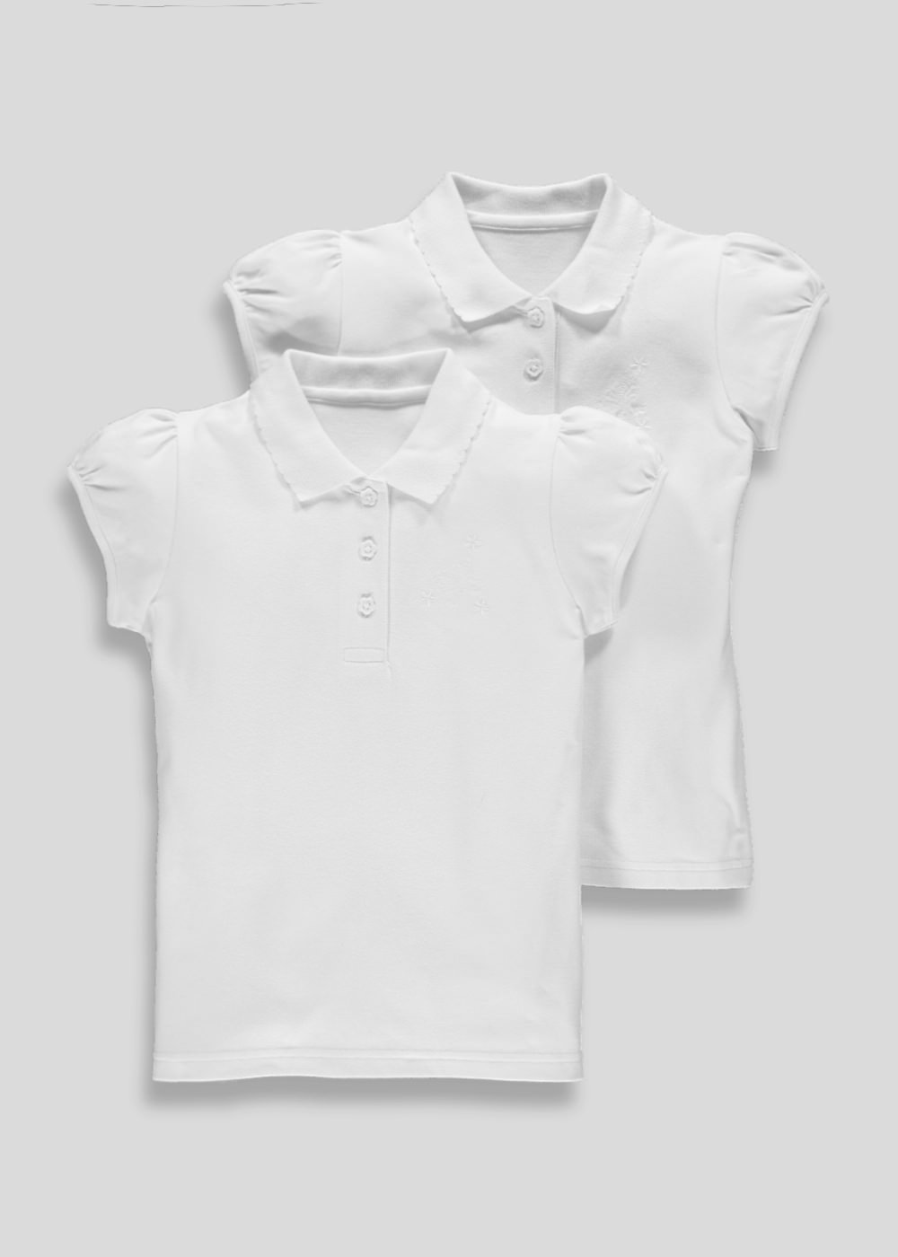 Girls 2 Pack Embroidered School Polo Shirts 3 13yrs White Matalan